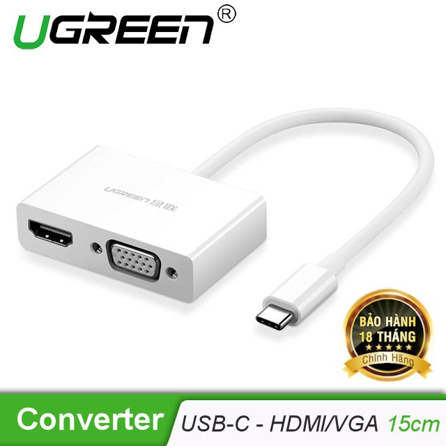 Bộ chuyển đổi USB Type C sang HDMI và VGA dài 15cm UGREEN MM123 30843 - 3050297 , 1129265622 , 322_1129265622 , 950000 , Bo-chuyen-doi-USB-Type-C-sang-HDMI-va-VGA-dai-15cm-UGREEN-MM123-30843-322_1129265622 , shopee.vn , Bộ chuyển đổi USB Type C sang HDMI và VGA dài 15cm UGREEN MM123 30843