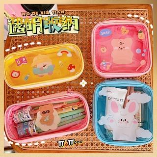 Cute bear transparent make-up bag female ins sweet large capacity portable travel storage bag wash bag