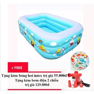 Bể bơi phao 3 tầng cho bé loại 130cm x 85cm x 55cm + Tặng kèm bơm điện 2 chiều và bóng hơi intex