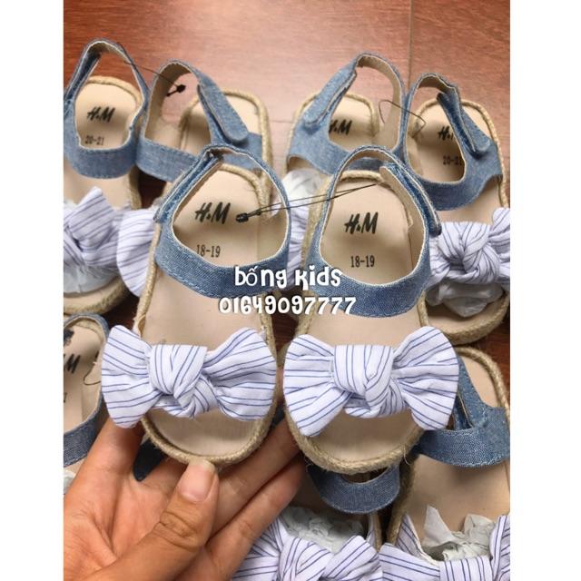 Sandal Bé Gái Đế Cói Nơ Sọc/Denim H&M