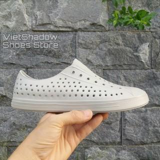 Giày nhựa đi mưa nam nữ - chất nhựa xốp siêu nhẹ, không thấm nước - Màu xám nhạt thumbnail