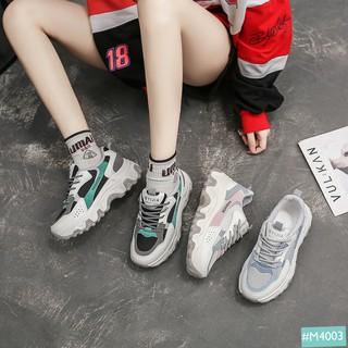 Giày Sneaker Nữ Độn Đế MINSU MYIJIA M4003, Giày Thể Thao Bata Đế Độn Tăng Chiều Cao Nữ Hàn Quốc 5cm Cùng Dây Phản Quang