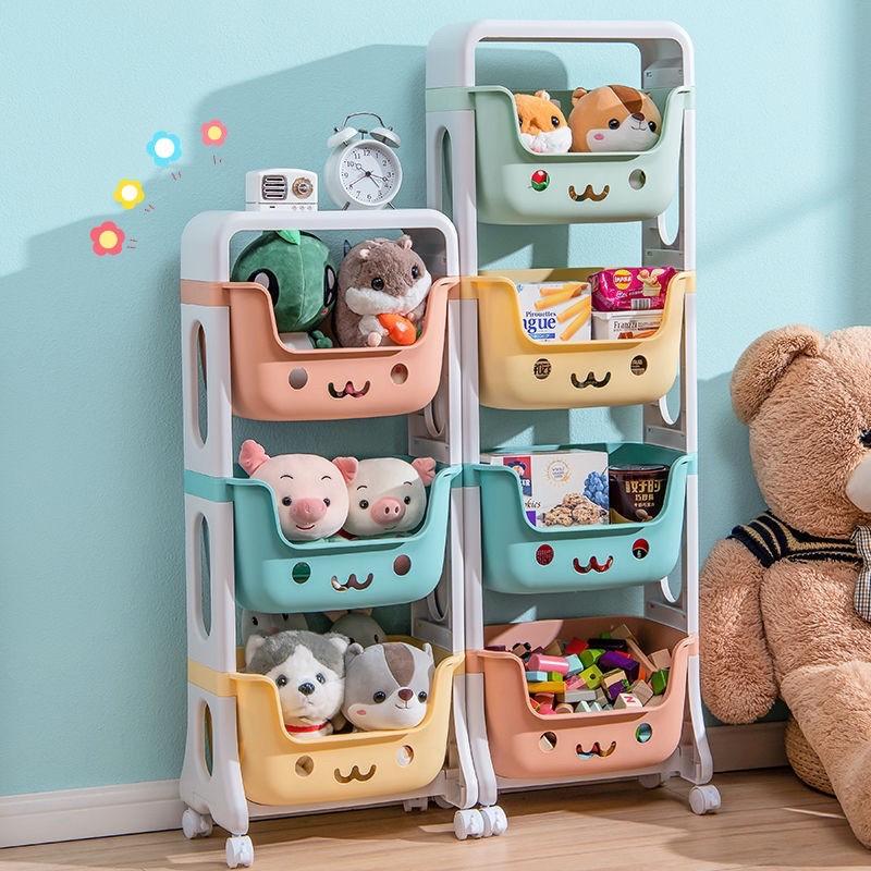 Kệ đựng đồ chơi cho bé rèn tính gọn gàng đồ bỉm sữa đồ dùng trẻ em 4 tầng đa năng có bánh xe nhựa PE an toàn