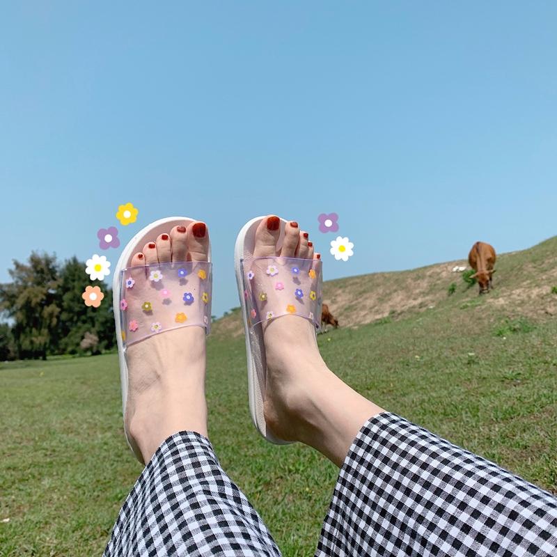 ✜❧○ Sweet little Fresh Xuan ya ins wind small flower slippers female summer indoor outside wear anti-slip transparent