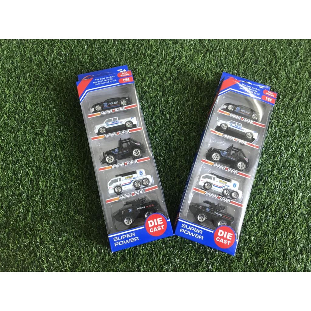 hộp 5 xe police mini đồ chơi 5 xe khác nhau