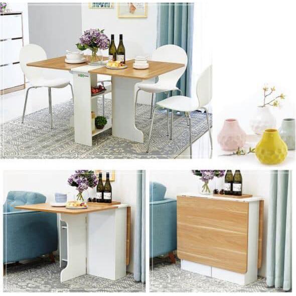 [ RẺ VÔ ĐỊCH] Bàn ăn thông minh gấp gọn có BÁNH XE màu Trắng- Vân Gỗ phòng bếp/phòng khách hiện đại- BATM5.31