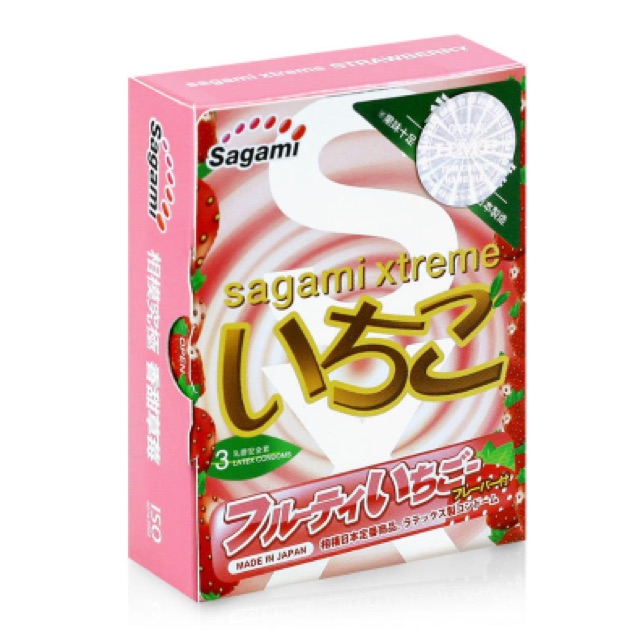 Bao cao su siêu mỏng hương dâu Sagami Xtreme Strawberry hộp 3 cái