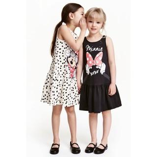 Váy HM mickey bé gái, sát nách, đen và chấm bi, xuất dư