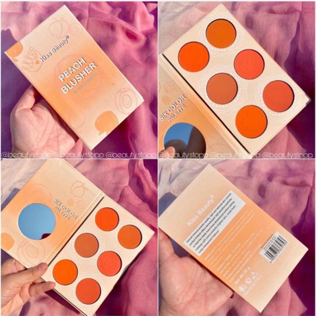 Image result for KISS BEAUTY Peach Blusher 6 màu
