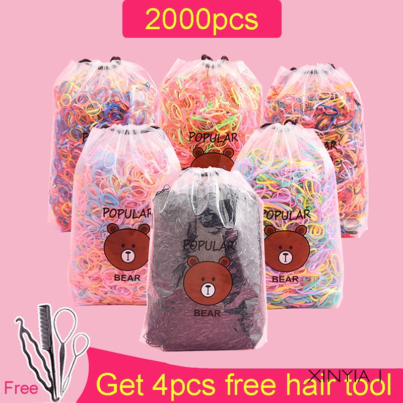 Set 2000 dây thun cột tóc nhiều màu xinh xắn dành cho nữ