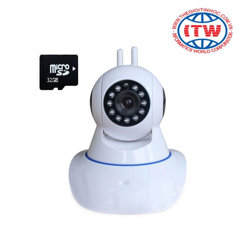 Camera giám sát và báo động 2 ăng-ten IP PK11 (Trắng) - kèm thẻ nhớ 32Gb