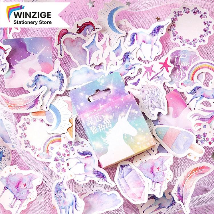 Winzige Bộ 46 sticker hình kỳ lân đáng yêu