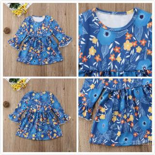 Mu♫-Fashion Toddler Baby Girl Floral Long Sleeve Dress Holiday Party Dresses Autumn Clothes