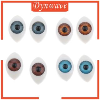 [DYNWAVE] 4 Pairs 6mm Iris Oval Hollow Back Plastic Eyes For Doll Making Mask 4 Color