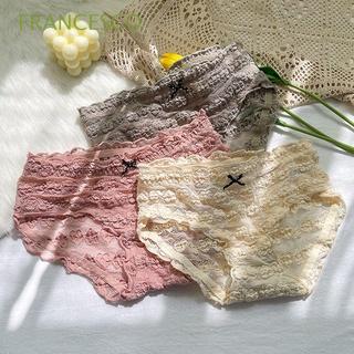 FRANCESCO New Women's Panties Seamless Underwear Briefs Ruffle Sexy Transparent Bow Knot Comfortable Girls Love Heart/Multicolor