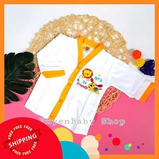 (Free ship) Áo sơ sinh tay dài màu trắng Hello Baby cho bé từ 3-11,3kg loại đẹp thumbnail