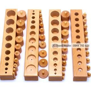 Giáo cụ Montessori – Bộ Núm trụ có núm – size to (Bản trường học)