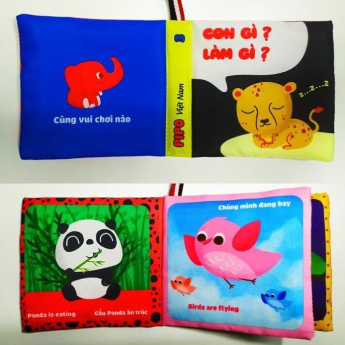[FREESHIP+TẶNG QUÀ] ComBo 6 Sách Vải Song ngữ Giáo dục mầm non giúp bé Kích thích thị giác-xúc giác-thính giác