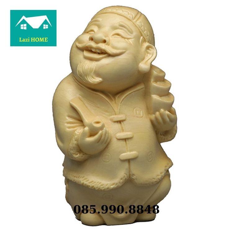 Tượng trang trí gỗ Hoàng Dương cao cấp, tượng phật phong thủy -M7 ông già