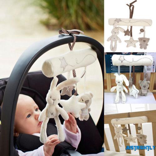 Jry₪Fashion Baby Crib Stroller Bed Music Rattle Hanging Bell Rabbit Bear Star Toys Baby-car Bear