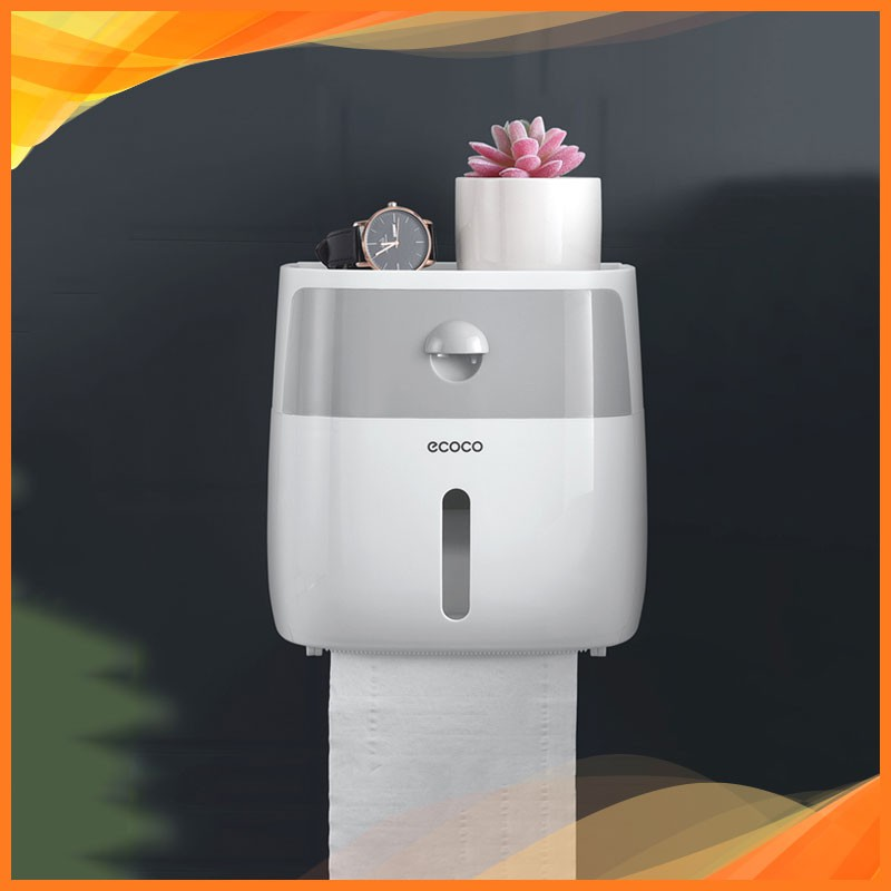 Hộp đựng giấy vệ sinh ECOCO gắn tường 2 ngăn, không cần khoan tường 9233