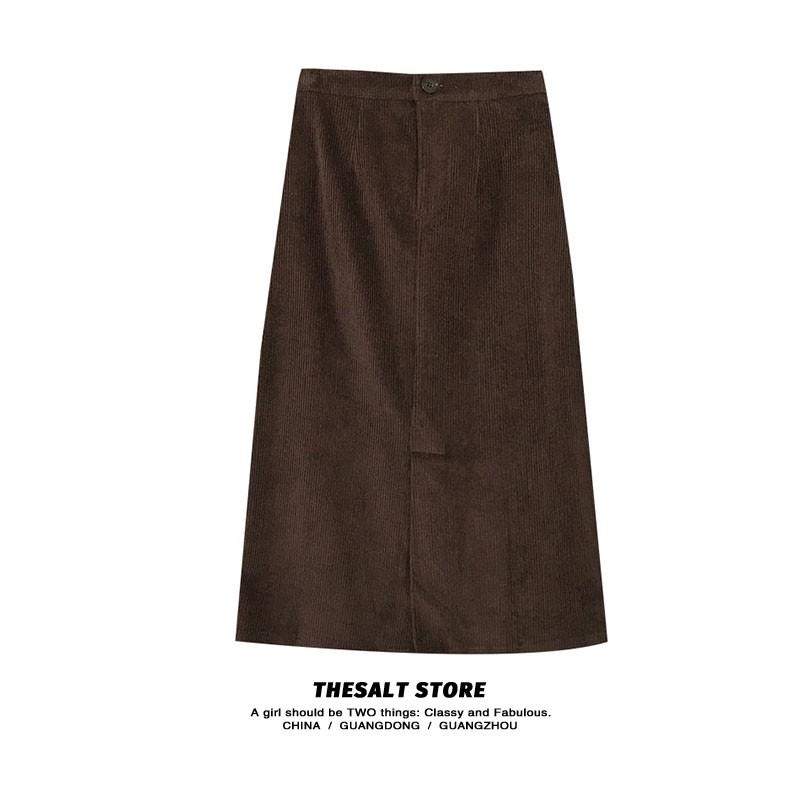 Chân váy Nhung Midi dài Lưng cao Dáng chữ A Màu trơn Lưng thun Retro Ulzzang Hàn Quốc Chân váy Nhung Midi dài Thu Đông
