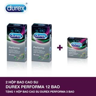 [Có che tên SP] Bộ 2 hộp bao cao su Durex Performa (12 bao/hộp) + Tặng 1 hộp bao cao su Durex Performa 3 bao