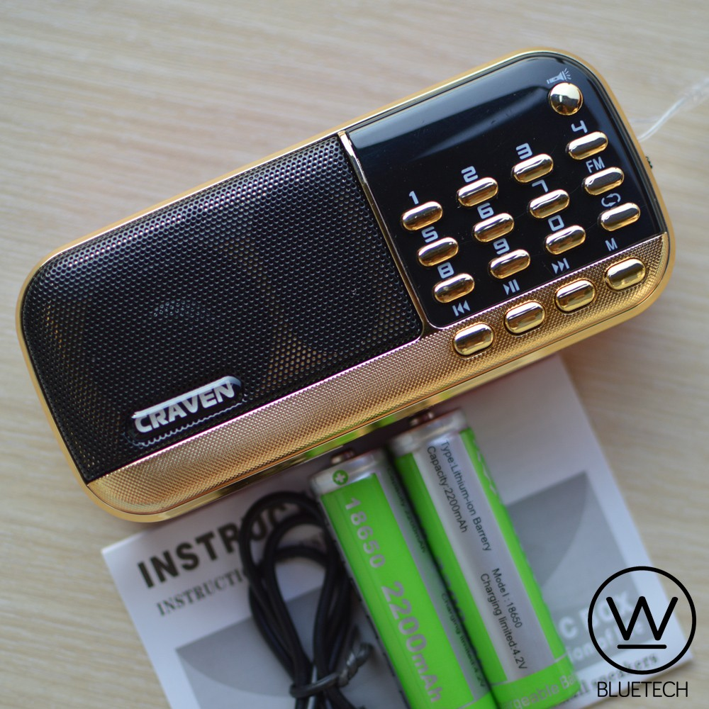 Loa Craven CR-836S có đèn Flash, nghe FM, USB/Thẻ nhớ