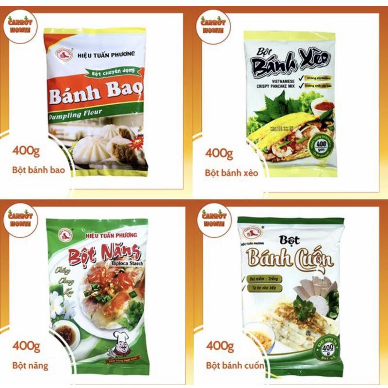 bột năng, gạo, mì, nếp, cốt dừa, rau câu....