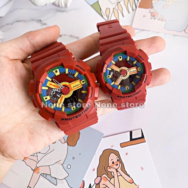 Đồng hồ nam, nữ HSET màu đỏ unisex dây nhựa kiểu dáng năng động cho tuổi teen