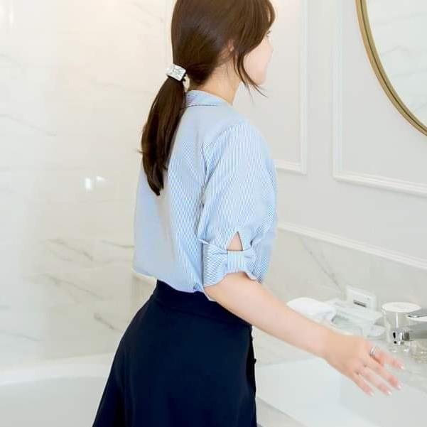 Mặc gì đẹp: Lịch sự với Áo sơ mi nữ công sở 💖Xuu Design💖 Áo sơ mi nữ tay ngắn kẻ cổ sen chất liệu Kate cao cấp- BS11