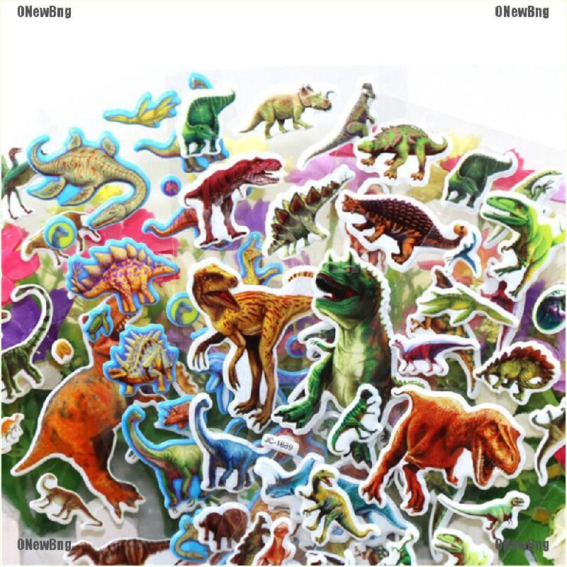 ONewBng✪ 10 Pcs Dinosaur Stickers 3D Children Cartoon Scrapbooking Puffy Kids Gift