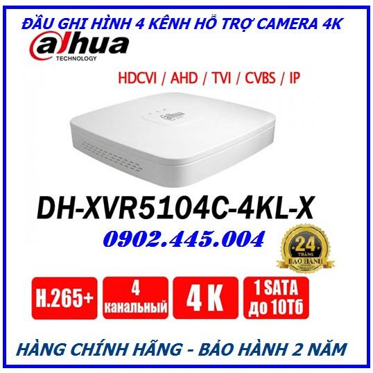 ĐẦU GHI HÌNH HỖ TRỢ CAMERA 4K CHUẨN NÉN H.265+ XVR5104C-4KL-X ( Dahua )