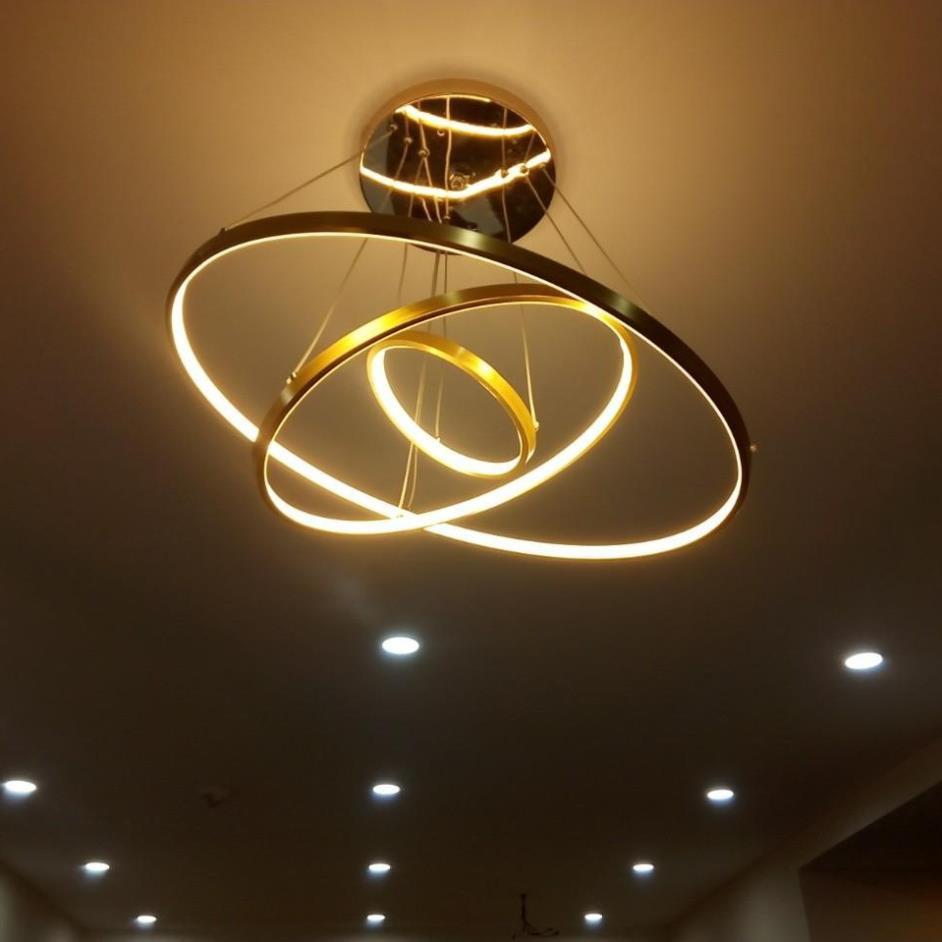 Đèn thả trần trang trí nội thất 3 vòng 3 chế độ màu ánh sáng CICERLAMP