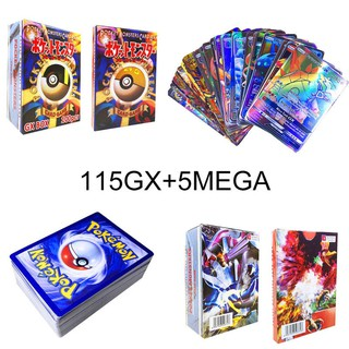 KHUYẾN MÃI echo 120Pcs 115 GX + 5 MEGA Pokemon Cards Holo Flash Trading Cards Bundle Mixed LOT