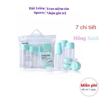 Bộ chiết mỹ phẩm du lịch mini, Bộ chiết mỹ phẩm, dầu gội, sữa tắm 10 món 7 chi tiết Hải Triều Sports