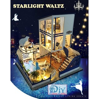 Mô hình nhà búp bê lắp ráp bằng gỗ DIY STARLIGHT WALTZ (Kèm dụng cụ keo + LED + MICA) – Quà tặng tự làm bằng gỗ