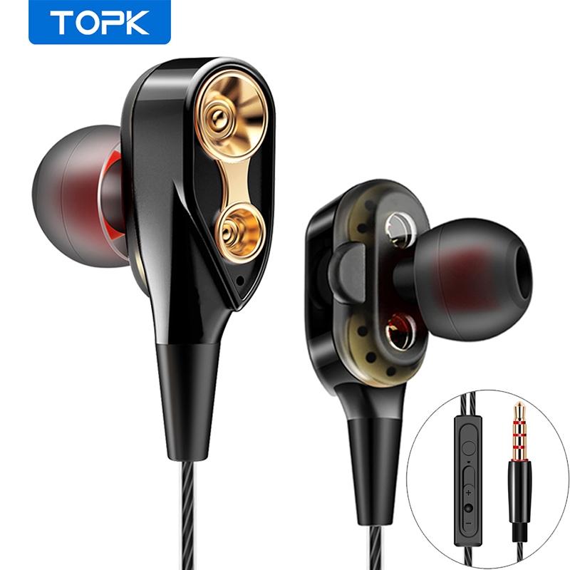 Tai Nghe TOPK F02 Cho Iphone 6 Với 2 Trình Điều Khiển Âm Thanh Nổi Hifi 3.5mm
