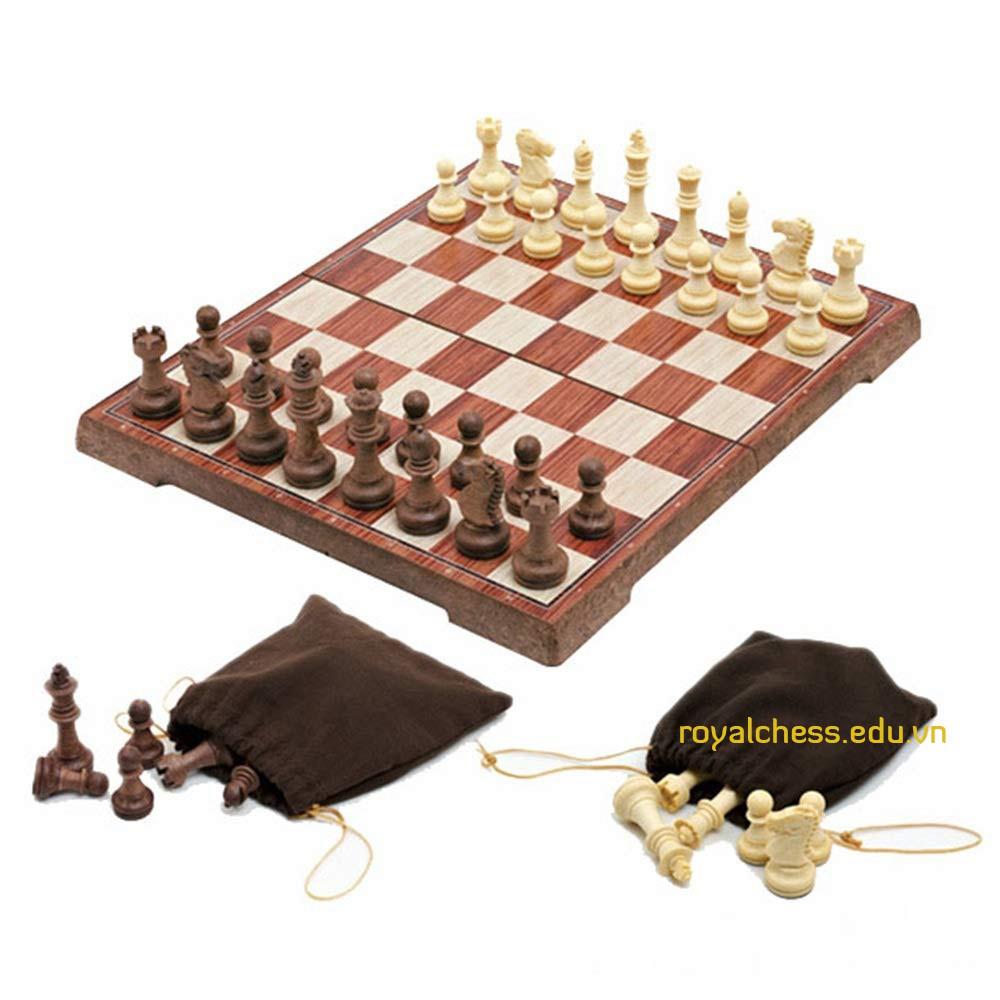 Bộ cờ vua nam châm giả gỗ vừa – size M
