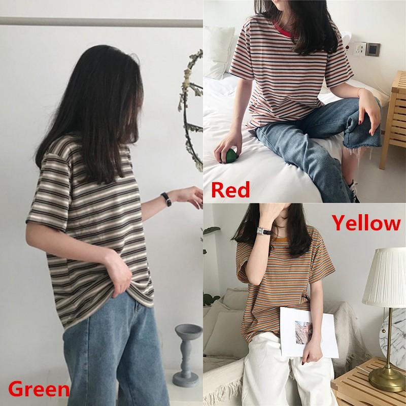 Áo thun ngắn tay họa tiết sọc ngang phong cách Hàn Quốc dành cho nữ