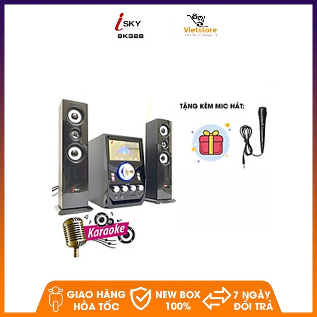Tặng kèm Micro hát) Dàn karaoke loa vi tính lớn âm thanh đỉnh cao có kết  nối Bluetooth USB Isky - SK328 - Dàn âm thanh
