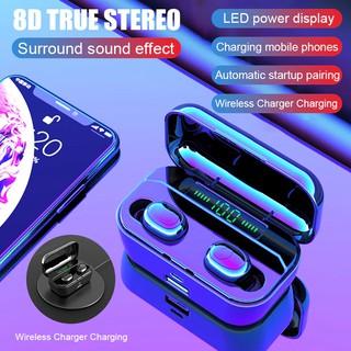 Tai nghe nhét tai không dây TWS Bluetooth V5.0 8D mini có micro và màn hình hiển thị cho âm thanh stereo sống động