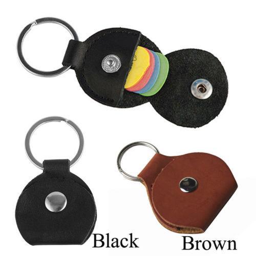 JQAIQ Guitar Pick Picks Holder Storage PU Leather Plectrum Case Bag Keychain Portable