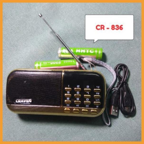 [Giá Rẻ] Loa thẻ nhớ Craven CR 836/836S có 2 khe cắm thẻ nhớ - USB - ĐÀI FM -  phát kinh phật đài FM