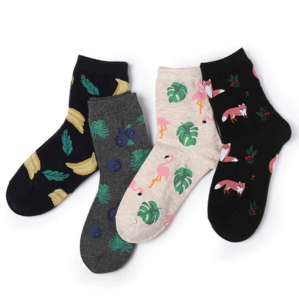 luoyangmudan Fashion  Fruit Print Breathable Women  Middle Tube Socks