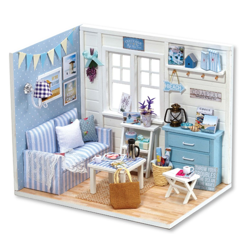 Mô hình phòng khách nhà búp bê DIY với đệm kẻ xanh sọc trắng - Sunshine Day PK1T-07