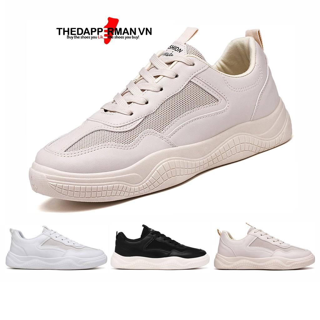 Giày nam thể thao sneaker THEDAPPERMAN CS02 chất liệu da, đế cao su nhiệt dẻo, êm chân, chống trơn trượt, màu kem