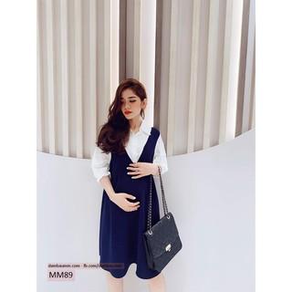 Váy bầu công sở, Đầm bầu thiết kế sơ mi phối trắng M&M MM89