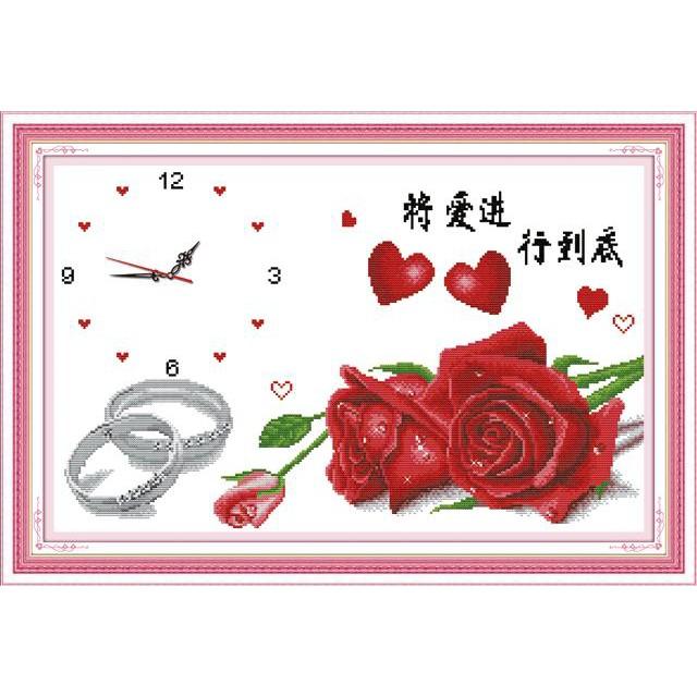 Tranh thêu chữ thập chưa thêu Hoa Hồng Tình Yêu (In Sẵn 100%)