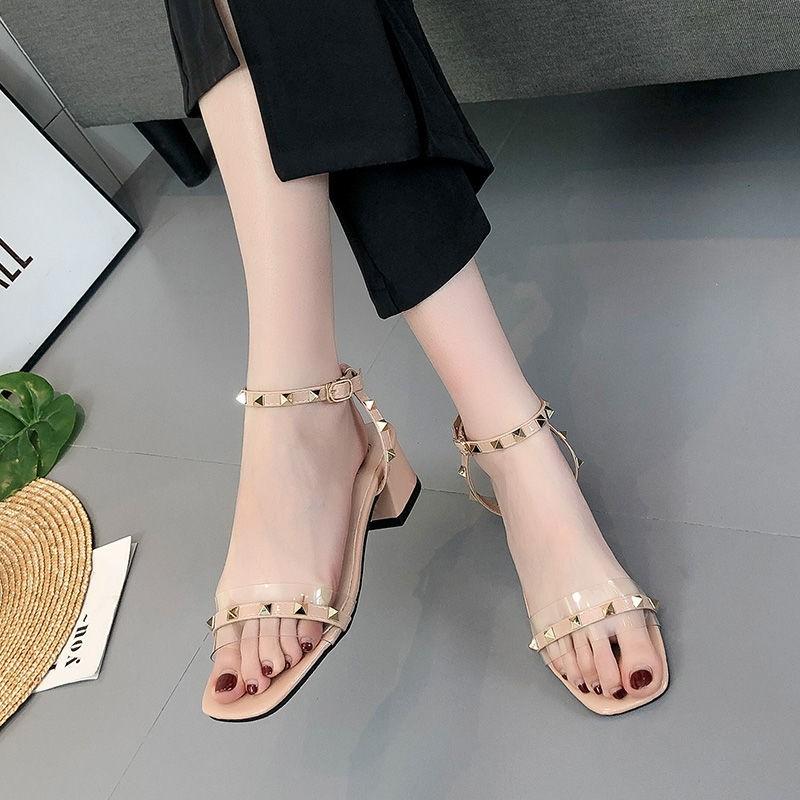 Giày sandal cao gót đế vuông quai đính đinh tán thời trang cho nữ